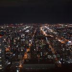 札幌の夜景は「JRタワー展望室」から。夜景の海に酔いしれる。