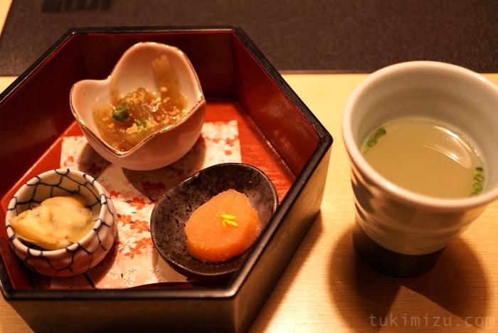 前菜3種と水炊きスープ