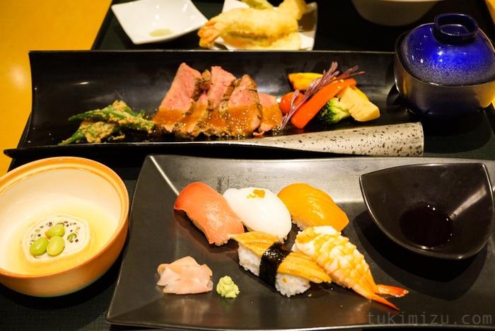 ステーキとお寿司